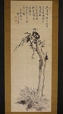 JAPANESE HANGING SCROLL ART Painting  Asian antique  #E5806