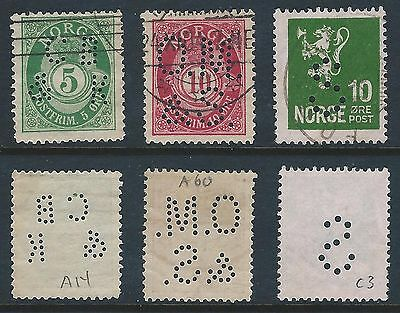 "3 Norway perfins from 1891-1930 includes ""CB/&K""; ""O.M./&S."" on Post horn issue"