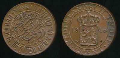 Netherlands East Indies, Wilhelmina I, 1945(p) 1/2 Cent - almost Uncirculated