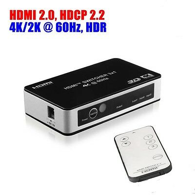3 Way HDMI 2.0 Switch 3 Port IN 1 OUT Ultra HD 4K 60Hz HDR HDCP 2.2 for PS4 Pro