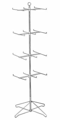 AYS Retail 24 Peg Floor Spinner w/ 4 Tiers Display Rack (Chrome Finish) NEW!!!