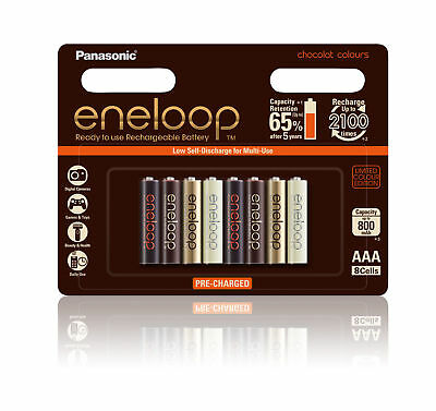 Panasonic eneloop Chocolat Colours 8 x AAA Rechargeable NiMH LSD Batteries