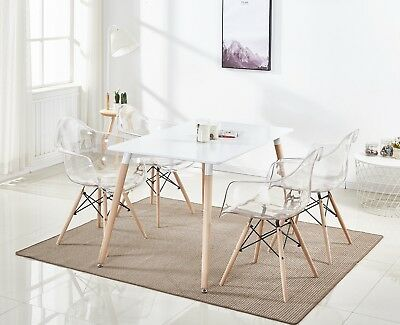 4 x Clear Ghost Dining Chair Armchair transparent Modern Style Chic Starck Louis