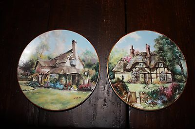 Marty Bell English Country Cottages Collector Plates. 2 Plates with Certificates