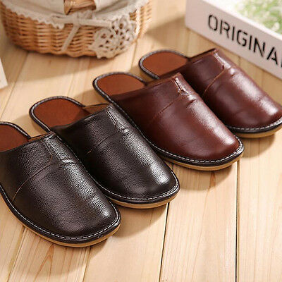 Cozy Gents Slippers Genuine Leather Shoes Home Floor Soft Indoor Shoes for Men