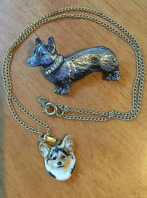 Two Dog Corgi Vintage Necklace And Pin