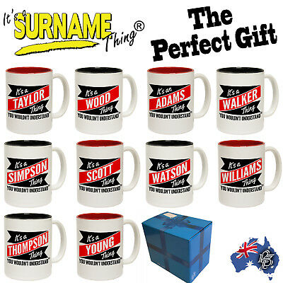 PERSONALISED NOVELTY COFFEE MUG SURNAME - Birthday family name mugs  GIFT BOXED