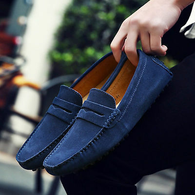 Mens Suede Loafers Boat Shoes Moccasins Smoking Slippers Slip On Casual Shoes