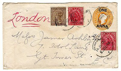 1900 India to GB Uprated Stationery / Franking / Sea Post Office.