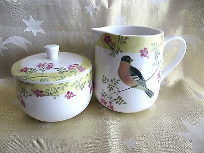 Queens Brookshaw Birds Covered Sugar Bowl & Milk Jug Brand New With Labels