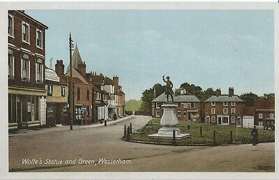 Kent, Westerham, Wolfe's Statue And Green, Coloured Postcard