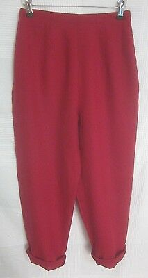 "Vintage 90's Red Linen High Waisted Tapered Cropped Mom Trousers 8 10 26"" Waist"