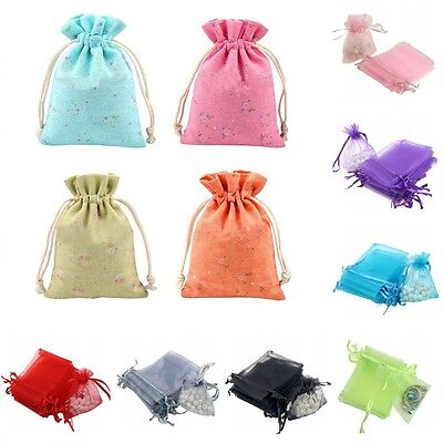 100pcs Organza Flax Gift Bag Pouch Jewelry Wedding Party Drawstring Middle Bag