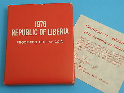 LIBERIA - 1976 SILVER PROOF $5 FIVE DOLLARS CROWN COIN - ELEPHANT - Box & CoA
