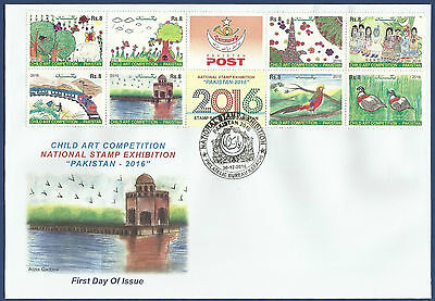 Pakistan Mnh 2016 Fdc Child Art Competition National Stamp Exhibition Birds