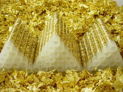 10 Beautiful Vials of Gold Leaf Flakes .....  Lowest price on Ebay !!