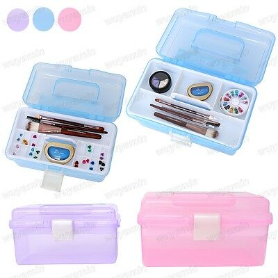 Clear Plastic Craft Makeup Jewellery Storage Organiser Compartment Tool Box Case