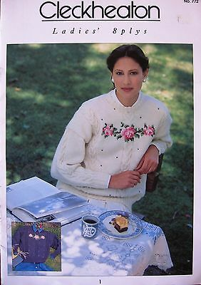 Cleckheaton Ladies 8 Ply Jumper Cardigan Knitting Patterns Size 8-18 Book 772