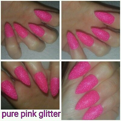 PURE BRIGHT PINK PARTY Glitter False Nails X 20 Stiletto Raw Glitter