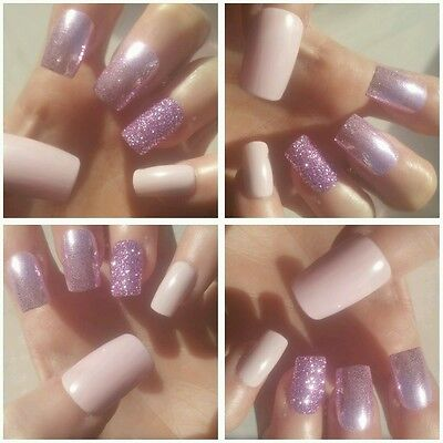 Bespoke Hand Painted Square False Nails x 20 Pale Pink & Lilac Dream