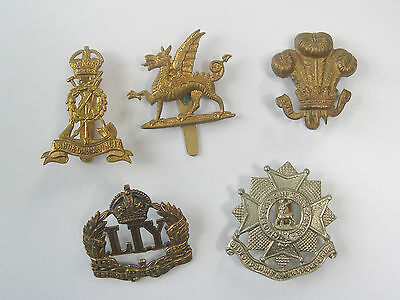 WW2 Military Cap Badges x 5 ORIGINAL  - GOOD COND. CAP BADGES - 3 MAKER MARKED