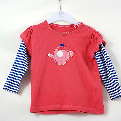 Baby Girls Next Merry Berry Pink Tea Cup Striped Long Sleeve Top Age 6-9 Months