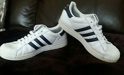 Adidas Superstar Trainers. White Navy Leather. Size Uk 5. Eur 38.