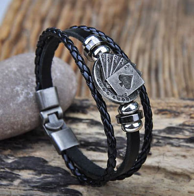 Biker MENS LEATHER WRISTBAND Bracelet Cuff Black ACE OF SPADES MOTORHEAD LEMMY