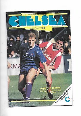 1988/9 Chelsea v Oxford United football programme (inc Save the Bridge flyer)