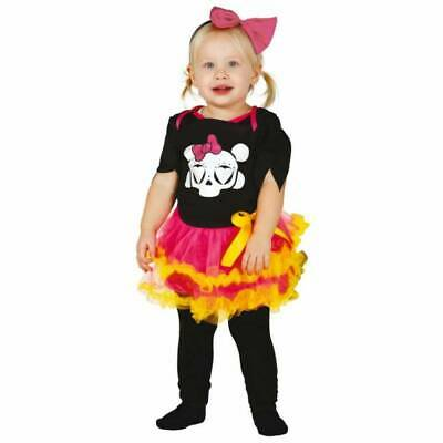 Baby Girl Toddler Day of the Dead Sugar Skull Halloween Fancy Dress Costume