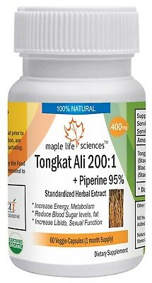 Tongkat Ali Root Extract 200:1 (Eurycoma Longifolia) + Piperine 95% for Men