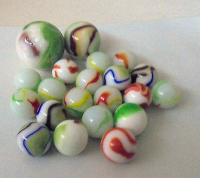 21- White and Coloured SWIRL STYLE Marbles - 2 Shooters- 21 in total old style