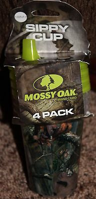 NEW bpa free MOSSY OAK 4-pack SIPPY CUPS 18mths+ CAMOUFLAGE