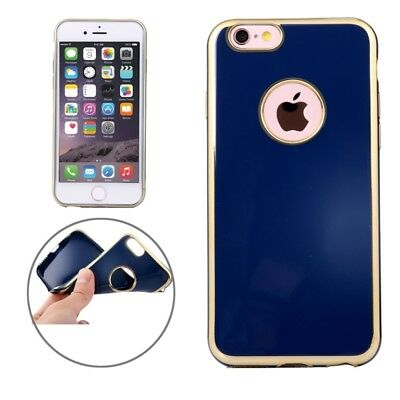 ELETTRONICA Dark Blue For iPhone 6 & 6s Electroplating Gold Edge Soft TPU Prote