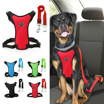 Breathable Air Mesh Puppy Dog Car Harness + Seat belt Clip Lead For Dogs S M L