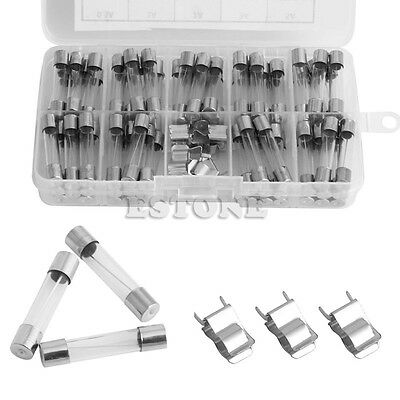 72pcs 250V 6x30mm 0.5A-30A Glass Tube Fuses Assorted Kit with Fuse Holder