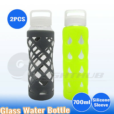 2PCS 700ml Office Gym Glass Water Bottle Sport Outdoor Camping Hiking Kettle Cup