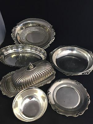 6 Vintage Silver Plate  Bowls And Butter Tray-Job Lot 6 Pcs