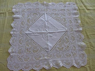 Vintage White Lace & cotton  table centre cloth 50 x 50 cms
