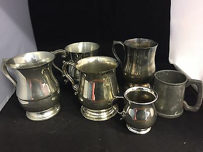 5 X Vintage Silver Plate Tankards & A Pewter
