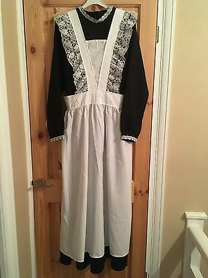 Long Victorian Maid Fancy Dress Complete Costume Size 12-14 With Feather Duster