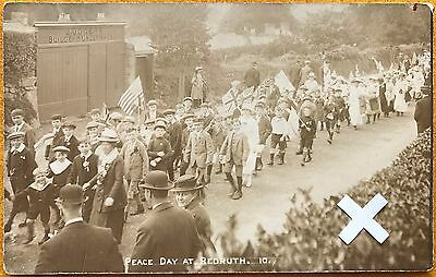 Rp Postcard, Peace Day, Clinton Road, Redruth, Cornwall.