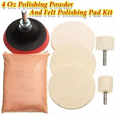 120g Cerium Oxide Glass Polishing Windscreen Scratch 3'' Wheel Pad&Drill Adapter