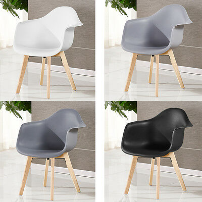 Scandinavian Tub Dining Chair Rico Plastic White Black Grey Set & Single