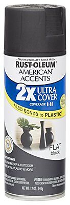 Rust Oleum 280711 American Accents Ultra Cover 2X Spray Paint, Flat Black, 12-O
