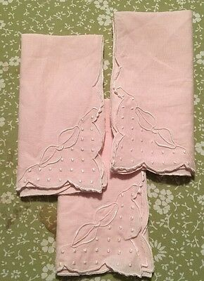 Linen NAPKINS With Pink Scolloped Embroidered Edge Tea Cocktail Set Of 3