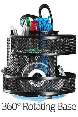 Rotating Metal Mesh Home Office Pen Pencils Holder Desk Storage Organizer Black