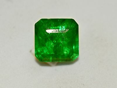 10.95 ct Natural Green Emerald shaped Certified Zambian Gemstone For Ring