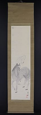 "JAPANESE HANGING SCROLL ART Painting ""Horse"" Asian antique  #E5816"