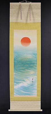 "JAPANESE HANGING SCROLL ART Painting ""Rising Sun"" Asian antique  #E5811"